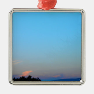 Sunset Silver-Colored Square Decoration