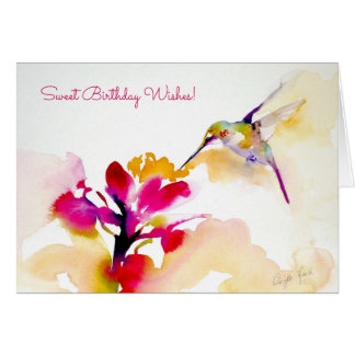 """Sunset Sip"" Hummingbird Print Card"