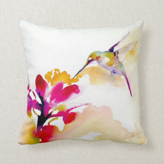 """Sunset Sip"" Hummingbird Print Cushion"