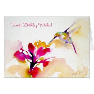 """""""Sunset Sip"""" Hummingbird Print Greeting Card"""