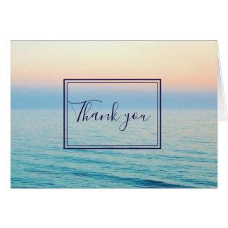 Sunset Skies Ocean Beach Blue Wedding Thank You Card