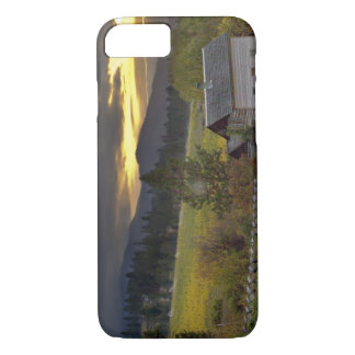 Sunset sky over vineyards and historic log cabin iPhone 8/7 case