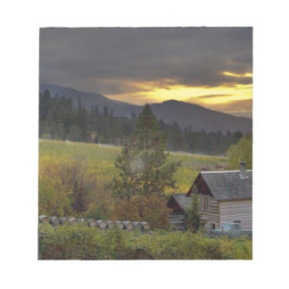 Sunset sky over vineyards and historic log cabin notepad