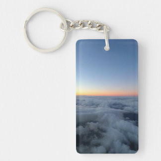 Sunset sky view flying above the clouds Single-Sided rectangular acrylic key ring