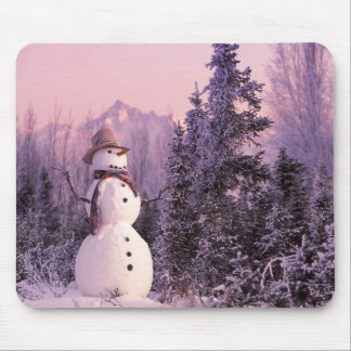 Sunset Snowman in the Winter Mountains Mouse Mat