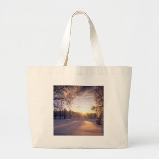 Sunset Snowy Trees Bags