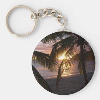 Sunset St. Martin Basic Round Button Key Ring