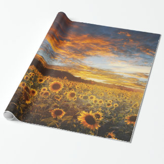 Sunset SunflowersField Wrapping Paper