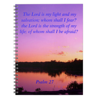 sunset sunrise psalms 27 Bible verses Spiral Notebook