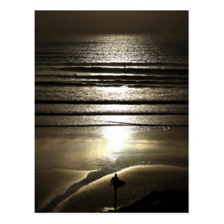 Sunset Surfer at Polzeath Postcard