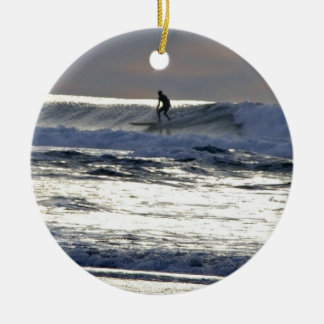 Sunset Surfer Christmas Ornament