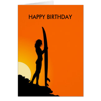 Sunset Surfer Girl with surfboard Happy Birthday Card