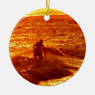 Sunset Surfing Christmas Ornament