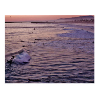 Sunset Surfing Oceanside. Postcard