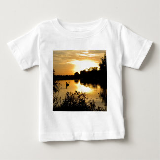 Sunset Swan Lake Orange & Yellow Baby T-Shirt