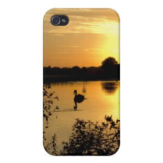 Sunset Swan Lake orange yellow Case For iPhone 4