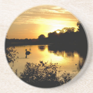 Sunset Swan Lake orange yellow Coaster