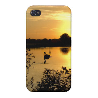 Sunset Swan Lake orange yellow Cover For iPhone 4