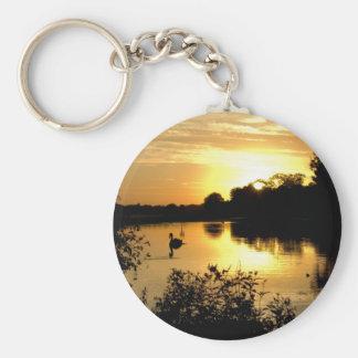 Sunset Swan Lake orange yellow Key Ring