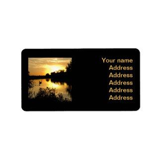 Sunset Swan Lake orange yellow Label