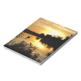 Sunset Swan Lake orange yellow Notepad