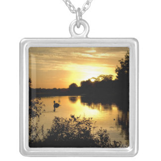 Sunset Swan Lake orange yellow Silver Plated Necklace