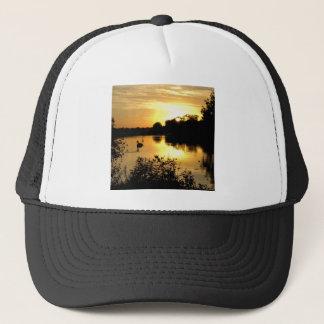Sunset Swan Lake orange yellow Trucker Hat