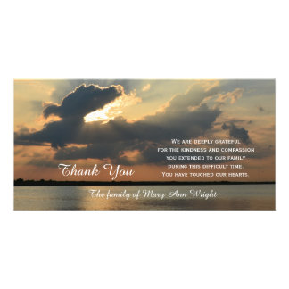 Sunset Sympathy Thank You Memorial Photo Card