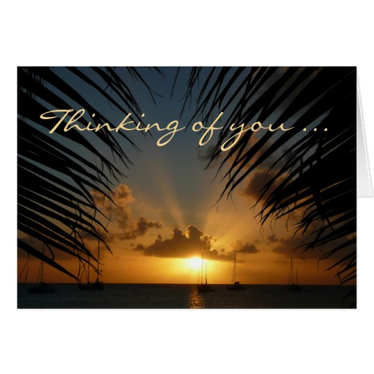 "Sunset Through Palm Fronds ""Thinking of You"" Card"