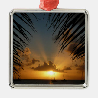 Sunset Through Palm Fronds Tropical Seascape Christmas Ornament