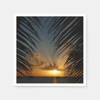Sunset Through Palm Fronds Tropical Seascape Disposable Serviette