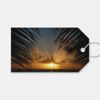 Sunset Through Palm Fronds Tropical Seascape Gift Tags