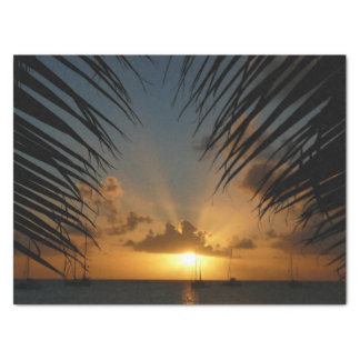 Sunset Through Palm Fronds Tropical Seascape Tissue Paper