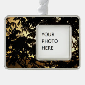 Sunset Through Trees I Tropical Photography Silver Plated Framed Ornament