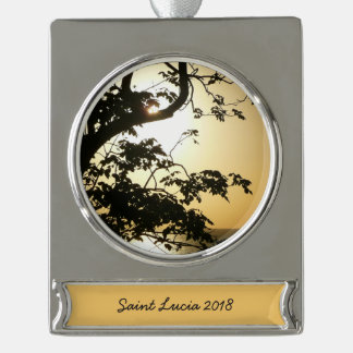 Sunset Through Trees II Tropical Photography Silver Plated Banner Ornament