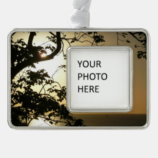 Sunset Through Trees II Tropical Photography Silver Plated Framed Ornament