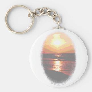 Sunset Transparency Basic Round Button Key Ring