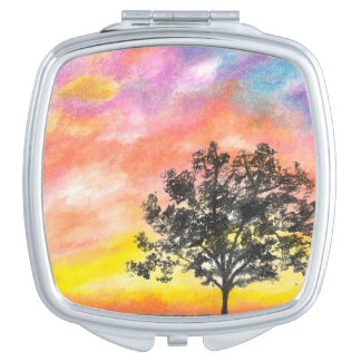 Sunset Tree Compact Mirror