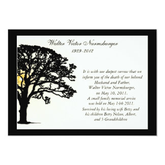 "Sunset Tree Death Announcement Card 5"" X 7"" Invitation Card"