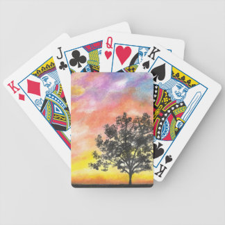 Sunset Tree Landscape Bicycle Playing Cards