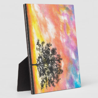 Sunset Tree Landscape Plaque