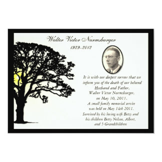 Sunset Tree Photo Death Announcement Card