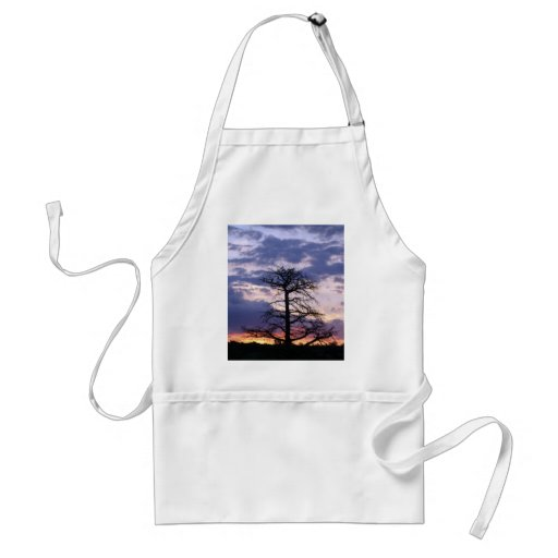 Sunset tree shades of blue aprons