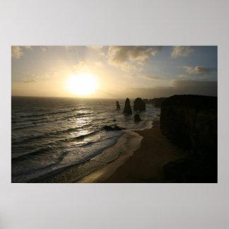Sunset, Twelve Apostles, Great Ocean Road Poster