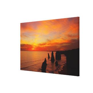 Sunset, Twelve Apostles, Port Campbell National Stretched Canvas Print