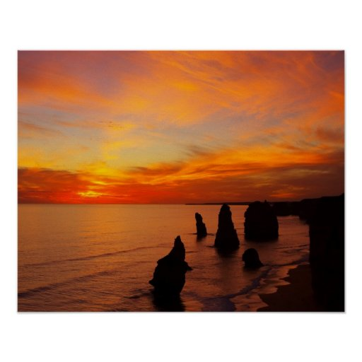 Sunset, Twelve Apostles, Port Campbell National Poster