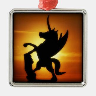 Sunset Unicorn Silver-Colored Square Decoration
