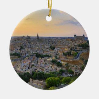 Sunset view of Toledo Spain Christmas Ornament