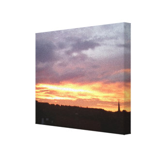 Sunset View over Dorking to hills beyond Canvas Print