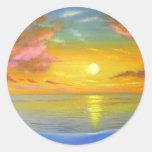 Sunset View Seascape Landscape Painting - Multi